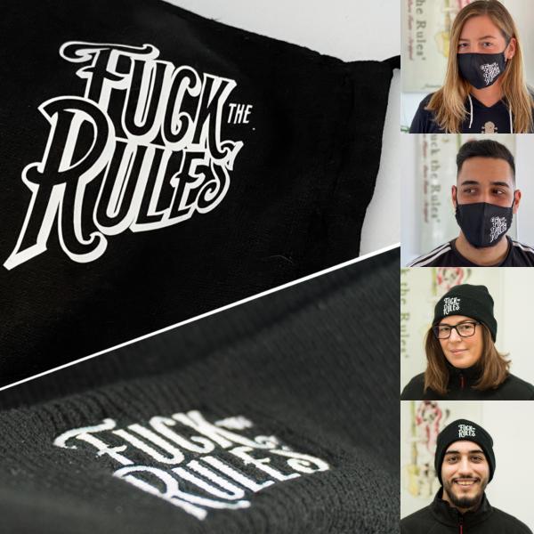 Fuck the Rules - Mund-Nasen-Maske & Winterkapp (Bundle)